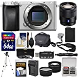 Sony Alpha A6300 4K Wi-Fi Digital Camera Body (Silver) with 16-70mm f/4 Lens + 64GB Card + Case + Battery & Charger + Tripod + Tele/Wide Lens Kit