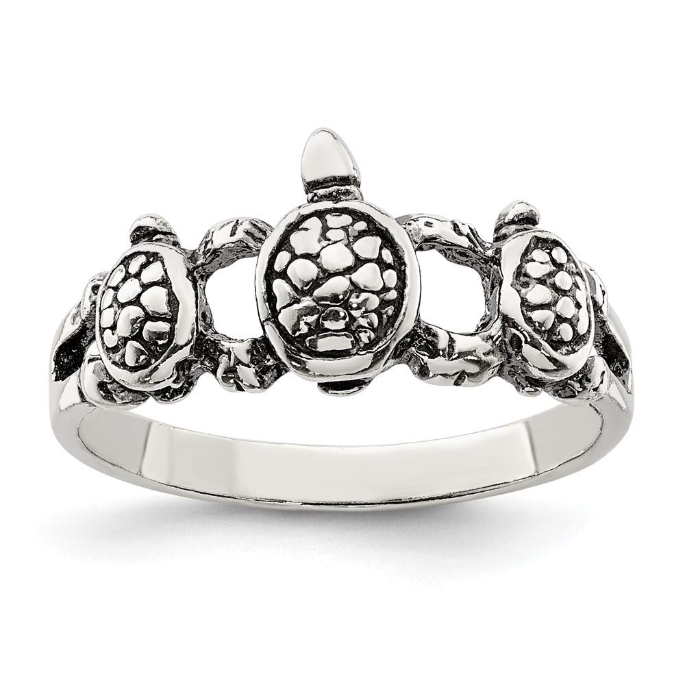 Sterling Silver Themed Ring Solid 2 mm Antiqued Turtle Ring