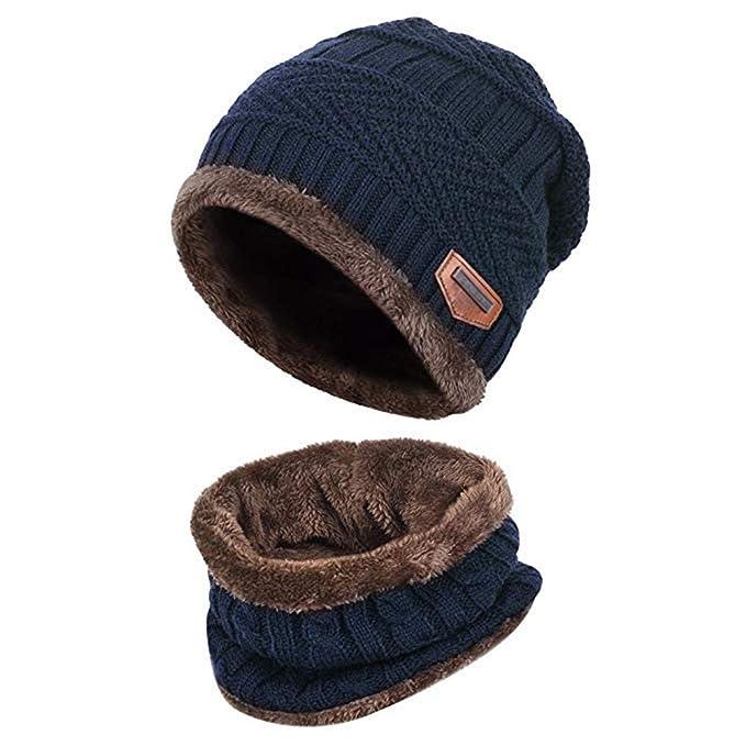afbca38c6e Aisprts Cappello Bambino Invernale Cappello Bambini Cappelli Inverno Cappello  Bambino Beanie Sciarpa (Blu)