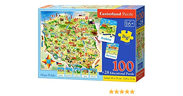 Castorland S de 142 – Puzzle Mapa de Polonia, 100 Plus 28 Piezas ...