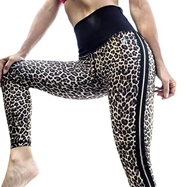 8d69fcc739c2 Esharing Women s high Waist Yoga Pants Leopard Print Exercise Running Leggings  Brown