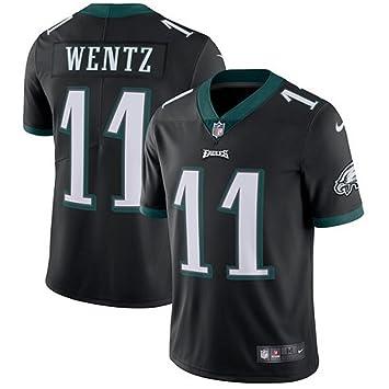 Nike # 11 Carson Wentz Camiseta de fútbol de Philadelphia Eagles Jersey Negro, Negro