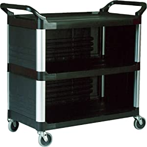 Rubbermaid Commercial 4093BLA Xtra Utility Cart, 300-lb Cap, Three-Shelf, 20w x 40-5/8d x 37-4/5h, Black
