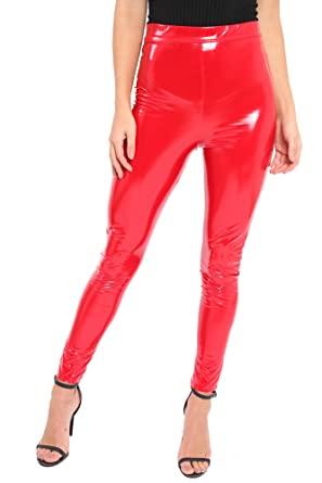 2e76a3fd0373f Ladies Latex Vinyl Shiny Leggings PVC PU High Waisted Stretch Wet Look  Disco Womens Sexy Trousers: Amazon.co.uk: Clothing