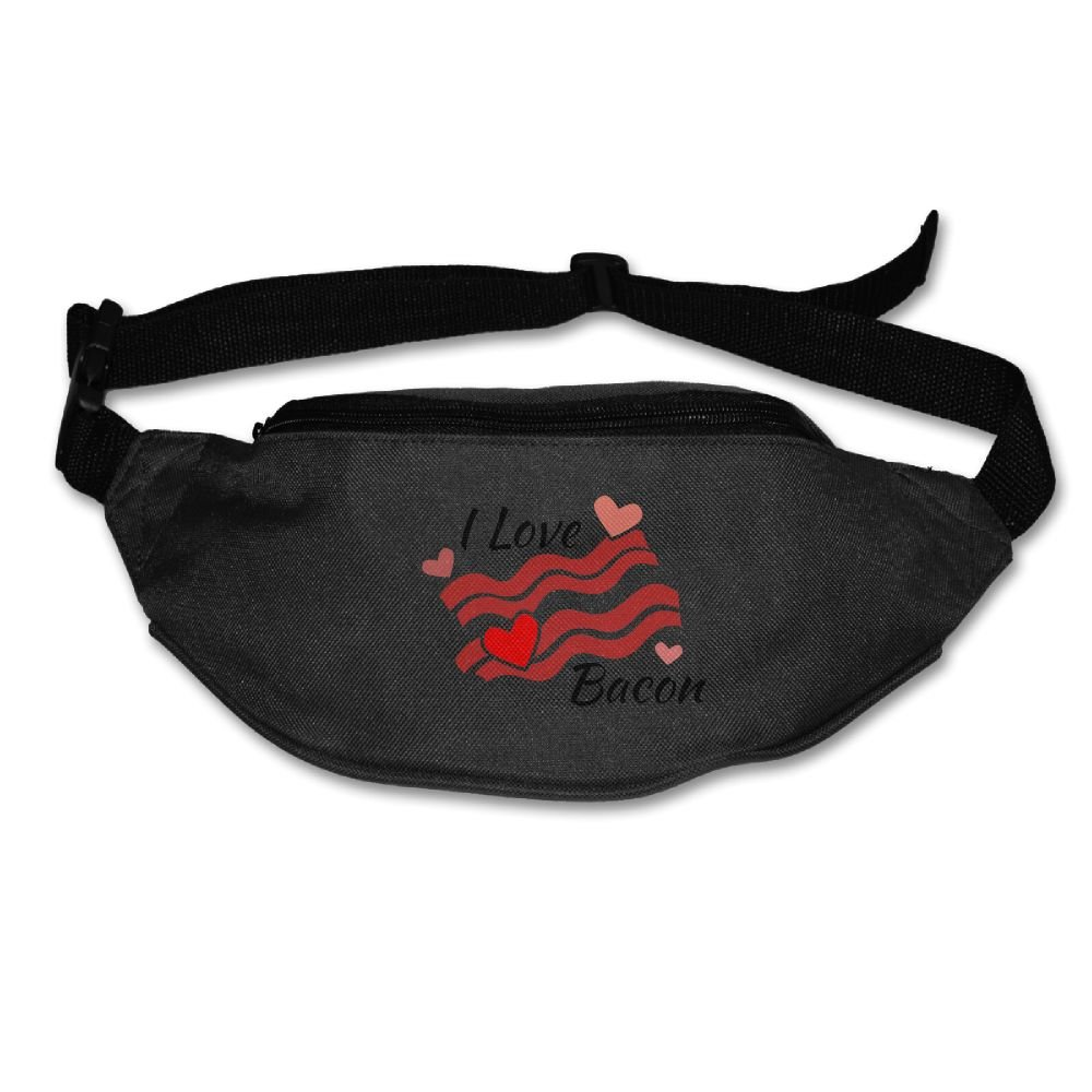 Gkf Waist Fanny Pack I Love Bacon Running Sport Bag For Outdoors Workout Cycling