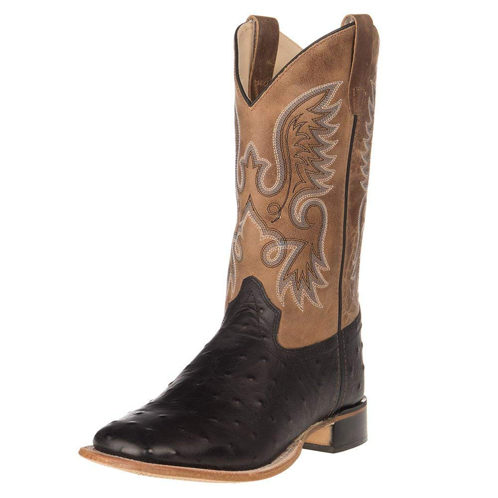 Big Kid Old West Kids Boots Unisex Ostrich Print Square Toe