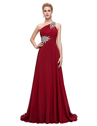 Loffy Womens Bridesmaid Chiffon Prom Dresses Long Evening Gowns Burgundy Size 2