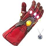 GOPOWR Endgame Iron Man Infinity Gauntlet Latex LED Light Up Toy Cosplay Costume w/Necklace