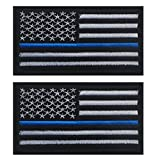 TACVASEN Bundle 2 pieces-Tactical Police law enforcement Thin Blue Line United States Flag Patch For Sale