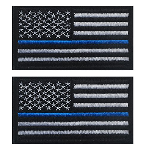 (TACVASEN Bundle 2 pieces-Tactical Police law enforcement Thin Blue Line United States Flag Patch)