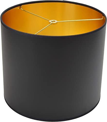 FenchelShades.com 12 Top Diameter x 12 Bottom Diameter 10 Height Paper Drum Lampshade Spider Attachment Paper Black with Gold