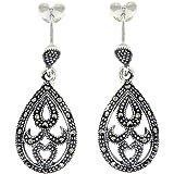 Sterling Silver Marcasite Teardrop Intricate Style Drop Earrings