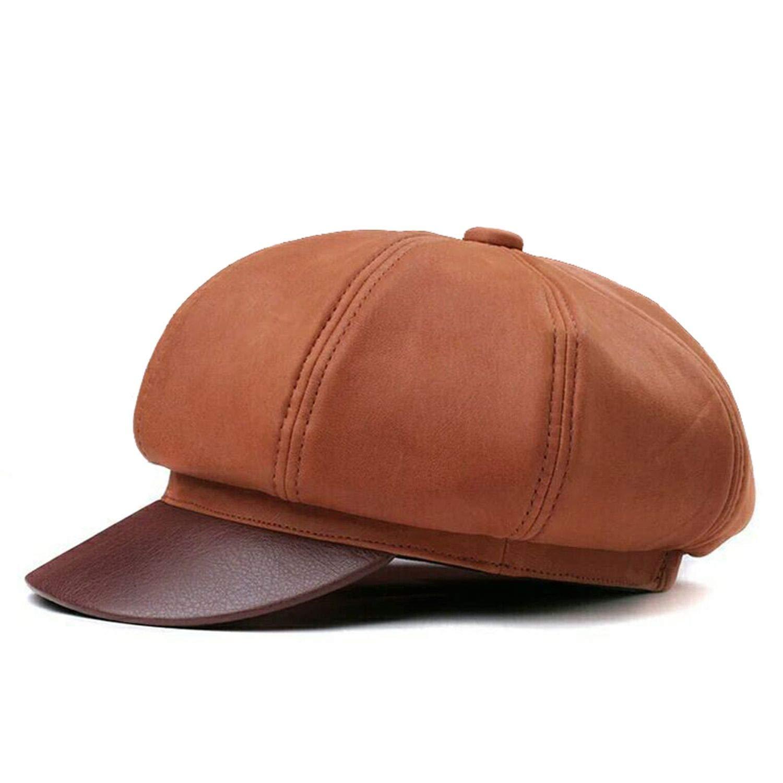 Women Octagonal Cap Genuine Leather Orange Newsboy Men Real Leather Luxury Classic Eight Piece Hats