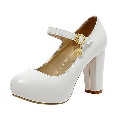 9d6d3975971b9 YE Damen Mary Jane Ankle Strap Pumps Rockabilly Blockabsatz High Heels  Plateau mit Riemchen und 9cm Absatz Elegant Schuhe