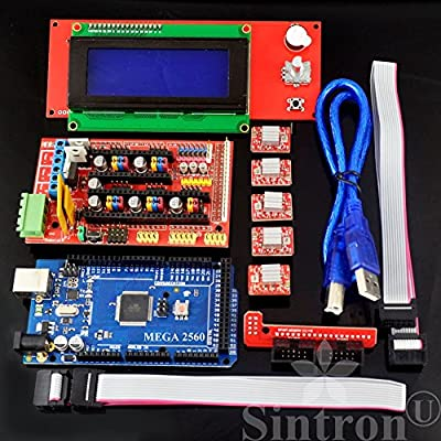 [Sintron] 3D Printer Controller Kit RAMPS 1.4 + Mega 2560 R3 + 5pcs A4988 Stepper Motor Driver with Heatsink + LCD 2004 Smart Display Controller with Adapter for Arduino RepRap
