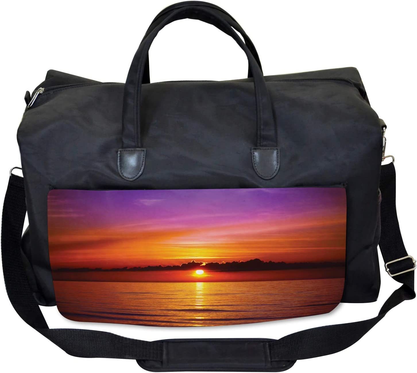 Large Weekender Carry-on Colorful Beach Sunset Ambesonne Romantic Gym Bag