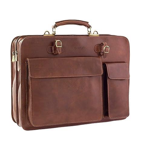 Chiarugi 2 bolsillo de lujo maletín de cuero italiano - marrón (marrón)
