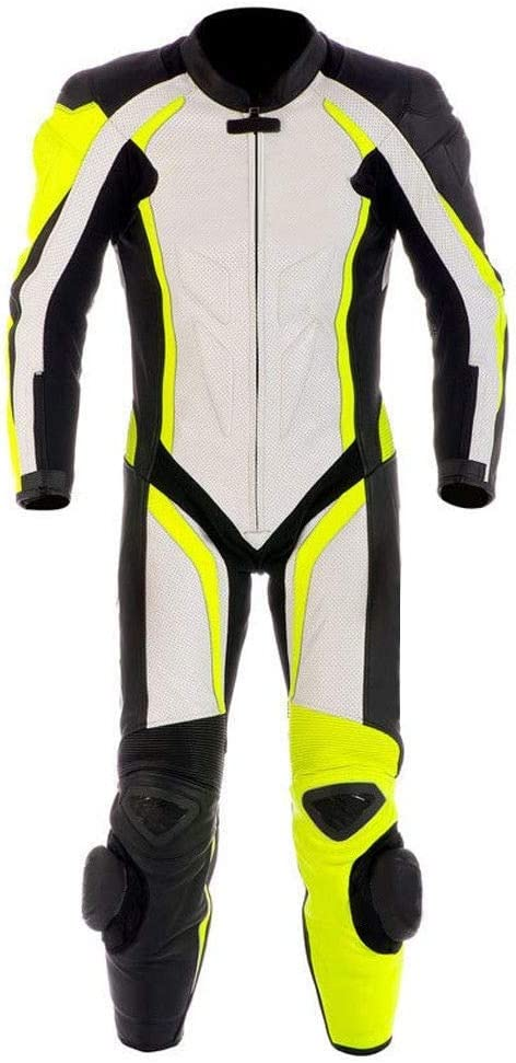 SM Motorcycle New Yellow//White One piece Leather Track Racing Suit CE Approved Protection