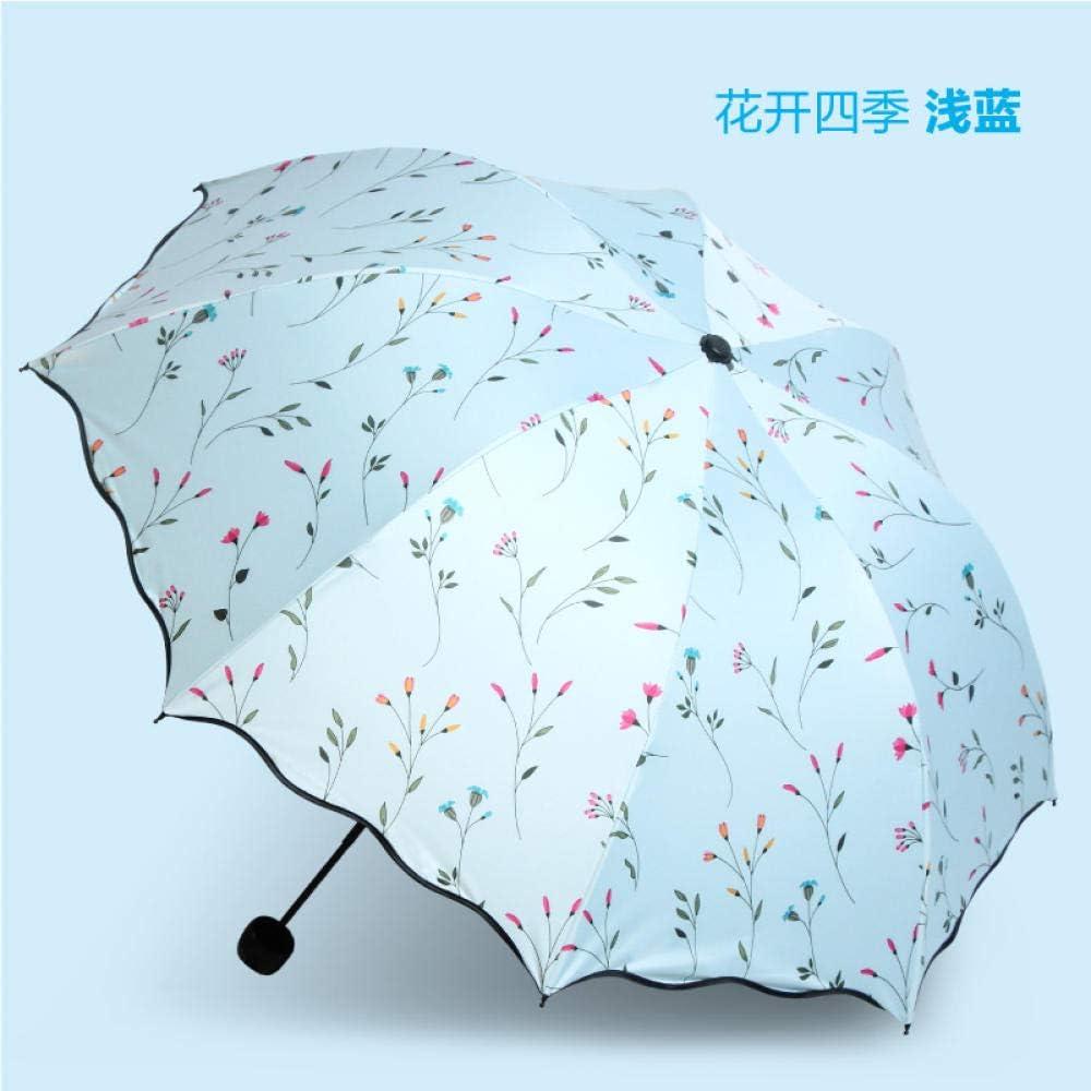 Umbrella Creative Dual-Use Umbrella Folding Sun Umbrella Female Black Plastic Sunscreen Anti-Uv Umbrella Three-Fold Umbrella@White