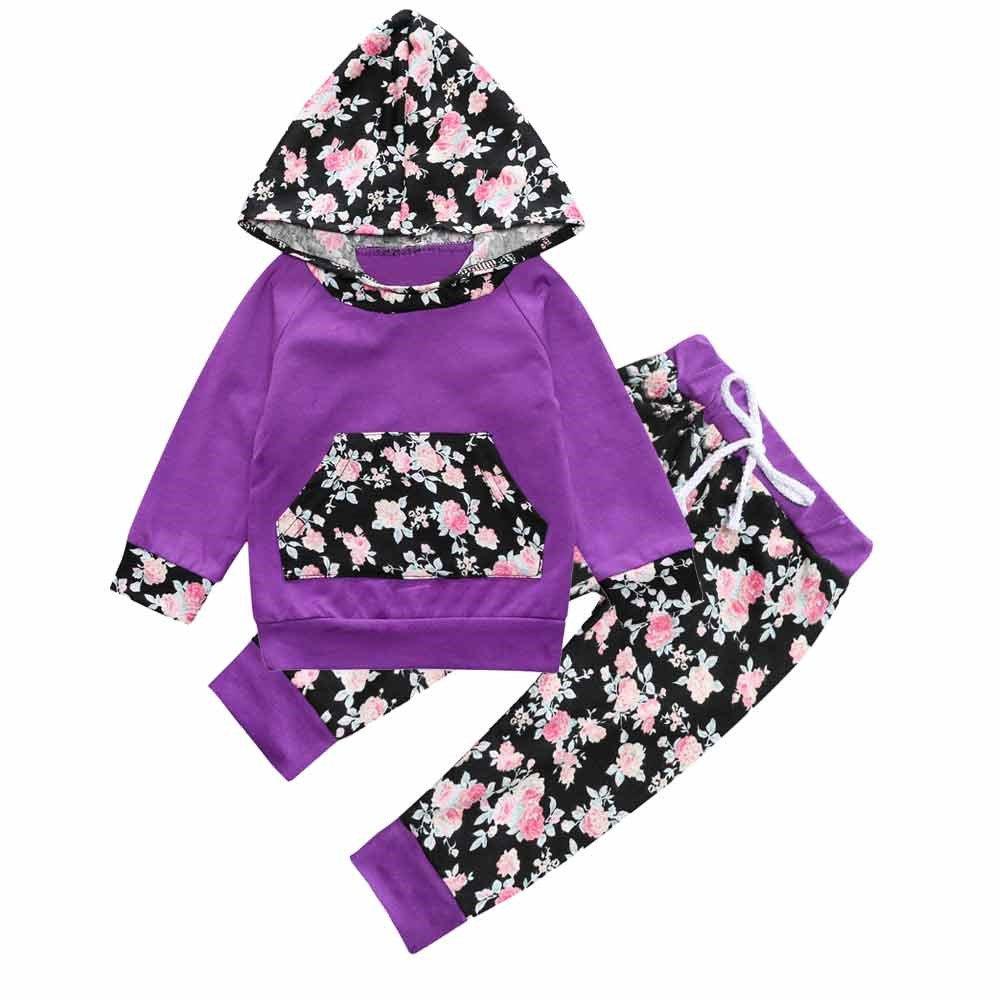 Mary ye Baby Girl Purple Floral Long Sleeve Hoodie Pocket Tops Sweatsuit Pants Sets