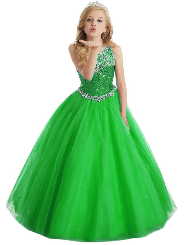 Girls Sequins Ball Gown Corset Beauty Pageant Party Dress For Teens 7-16 12 US Green