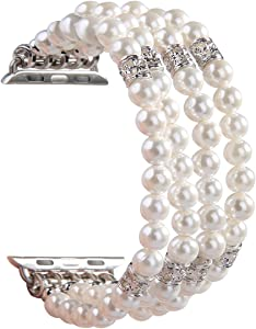 GEMEK Compatible with Apple Watch Band 42mm 44mm Women iWatch Bands Series 6/5/4/3/2/1, Handmade Beaded Elastic Stretch Pearl Bracelet Replacement Strap for Girls Wristband(White)