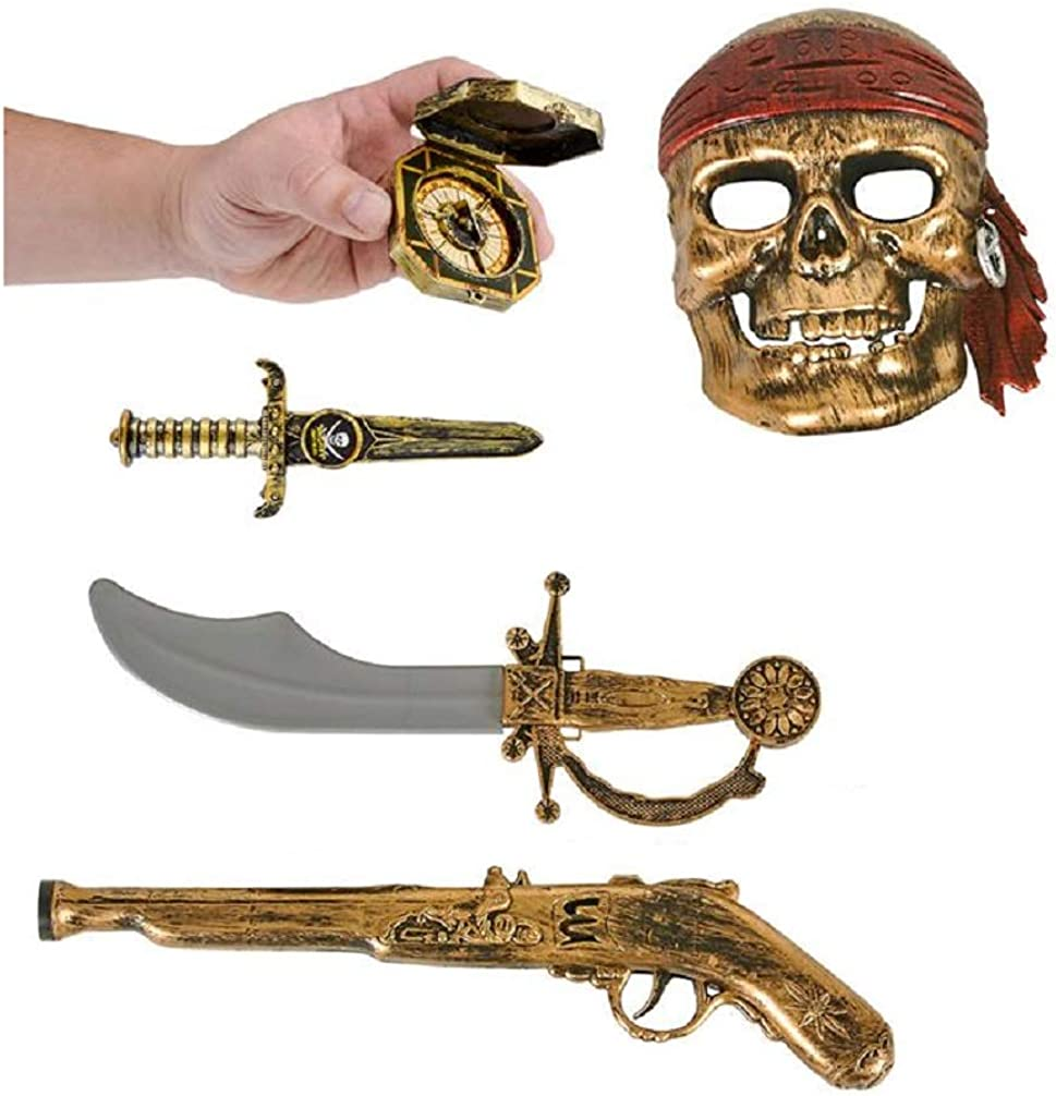 Kids Bronze Pirate Set - Mask - Gun - Sword - Dagger - Compass (5 Pcs) Halloween Costume. Plastic.