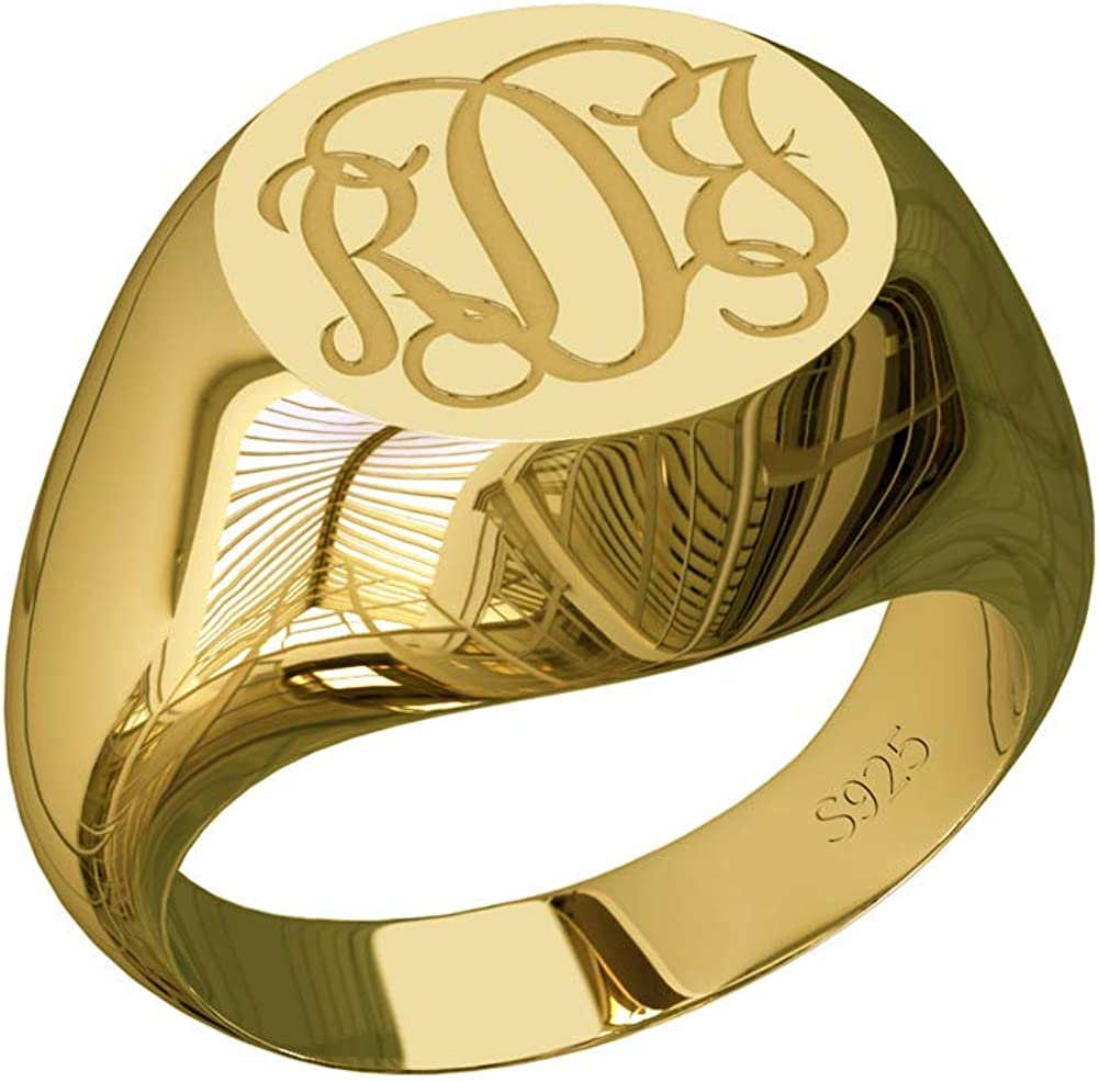 Elefezar Personalized Signet Radiant Monogram Ring Sterling Silver Large Ring Engrave Custom with 3 Initials