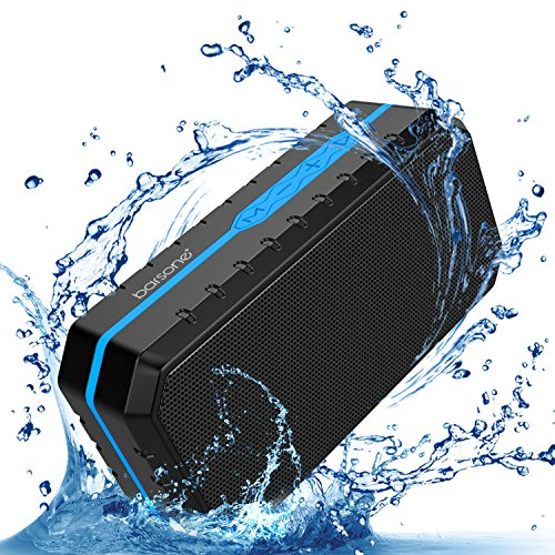 Portable Wireless Bluetooth Speaker, Barsone IPX5 Water Resistant Handsfree Calling Built-in Mic Support FM AUX TF Card USB(Blue)