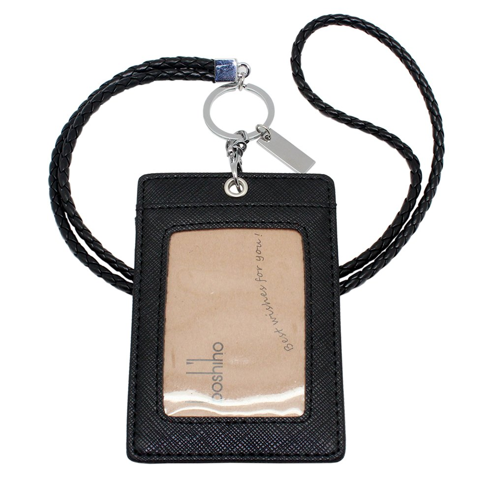 Boshiho Vertical Style Leather ID Card Badge Holder with Keychain Lanyard (Black with Keychain)