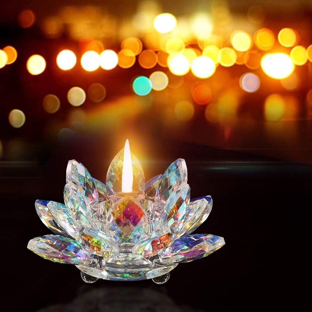 E hunpta Lotus Cristal 7/Couleurs Verre de Cristal Fleur de Lotus Bougie Photophore Bougeoir Bouddhiste Cristal