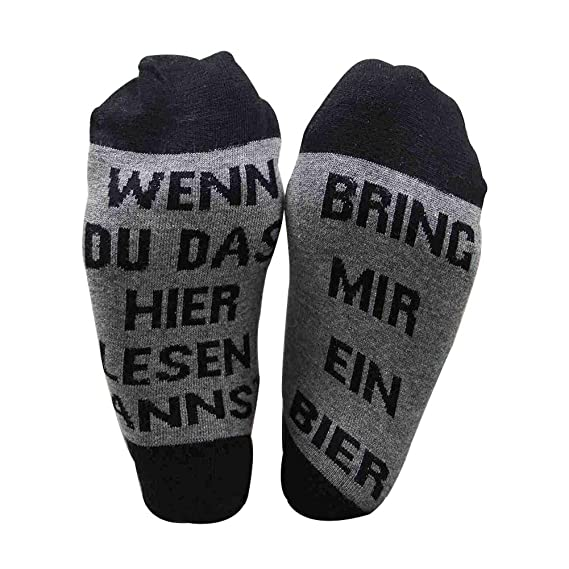 1 Paar BRING MIR EIN BIER Lässiger Brief in Baumwollsocken Winter Socken DE