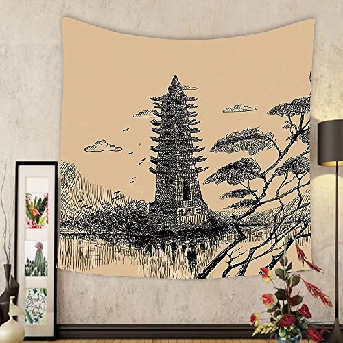 Gzhihine Custom tapestry Asian Decor Tapestry Old Stone Tiered Tower Vintage Style Taoist House Of Faith Historical Illustration Bedroom Living Room Dorm Decor Pale Brown Black by Gzhihine