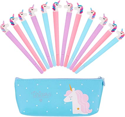 Hellomagic - Juego de 12 bolígrafos y estuches de gel con diseño de unicornio y estuche para lápices: Amazon.es: Oficina y papelería