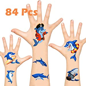 KIMIOX Temporary Tattoos for Kids, Non-Toxic FDA Approved Cartoon Theme Fake Tattoos Stickers for Children Boys Girls Halloween Birthday Party Favors Supplies (Shark Tattoos)