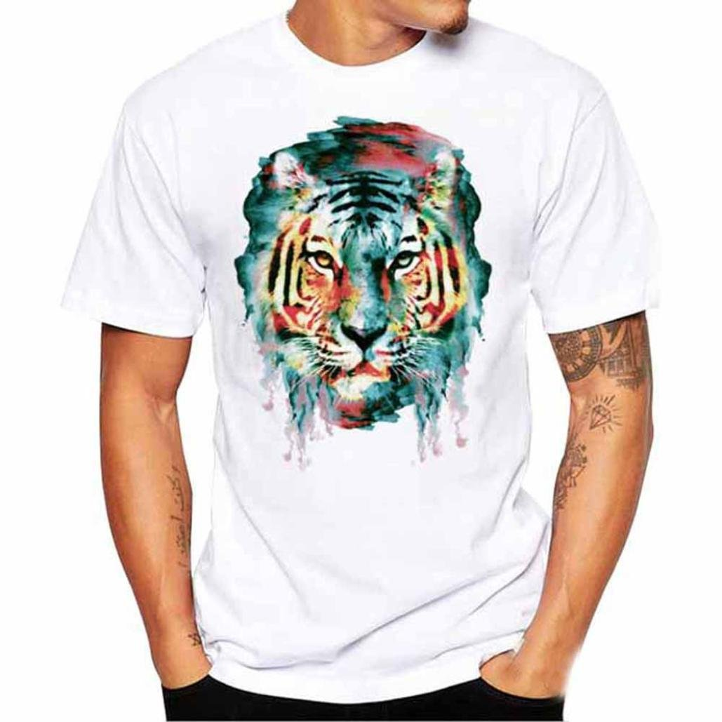 Zulmaliu Men's Tee Shirt,Funny Boys Abstract Tiger 3D Print Short Top Casual Polo Blouse (White, L) by Zulmaliu