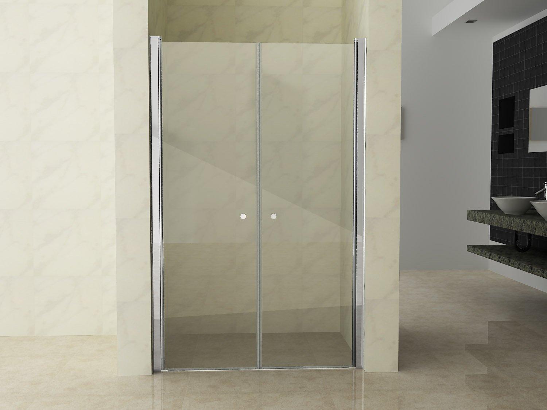 regolabile 118//120cm Porta doccia due ante a battente per nicchia doccia saloon h.195cm cristallo 6mm MARLON 120 cm
