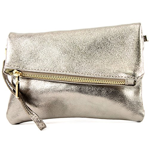 leather de Bag bag Altgold Clutch metallic ladies bag Wrist shoulder ital T95 bag leather modamoda small d4nPEqEw