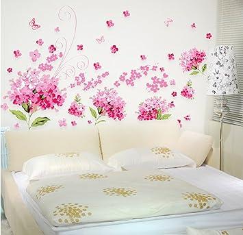 ufengke® Romantique Rose Fleurs d\'Hortensia Stickers muraux, chambre ...