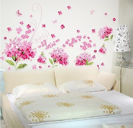 Ufengke Romantico Rosa Fiori Di Ortensia Adesivi Murali Camera Da