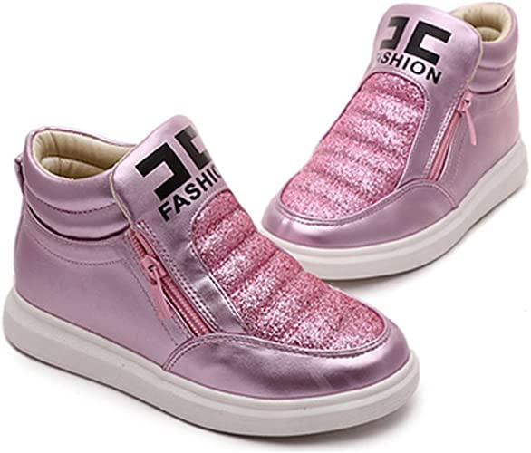 T-JULY Girls Platform Zipper Toddler Athletic Walking Sneakers Glitter Kids High Top Booties Sport Shoes