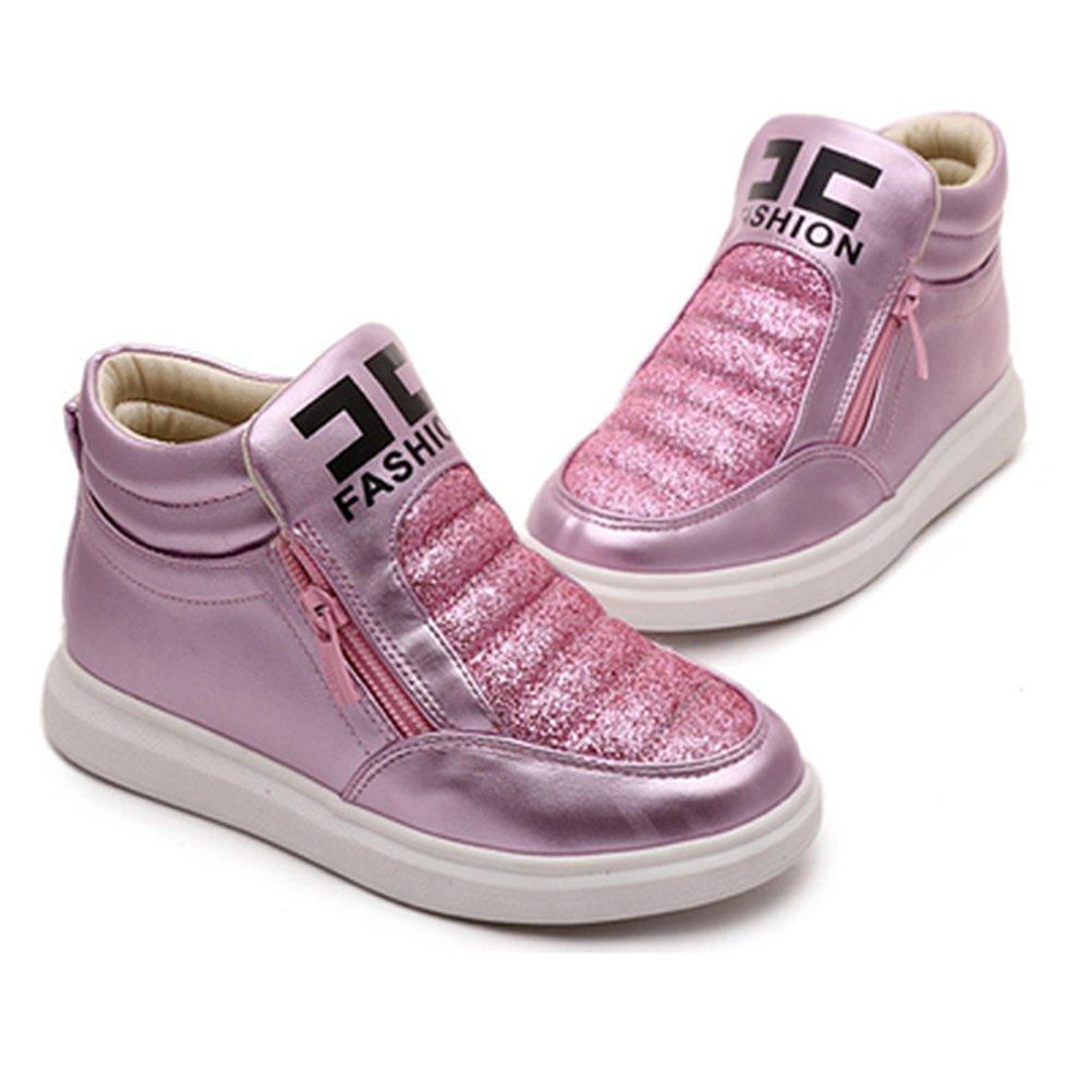 T-JULY Girls Platform Zipper Toddler Athletic Walking Sneakers Glitter Kids High Top Booties Sport Shoes
