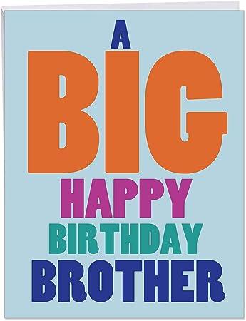 Prime Amazon Com Big Happy Birthday Brother Big Greeting Card With Personalised Birthday Cards Bromeletsinfo