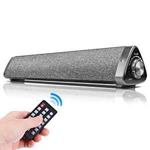 Bluetooth 5.0 Computer Speaker, Chuangker Wired/Wireless Mini Sound Bar Built-in Mic, Portable Outdoor/Home Theater System with Remote Control Speakers for TV/PC/Cellphone/Tablet/Desktop/Laptop