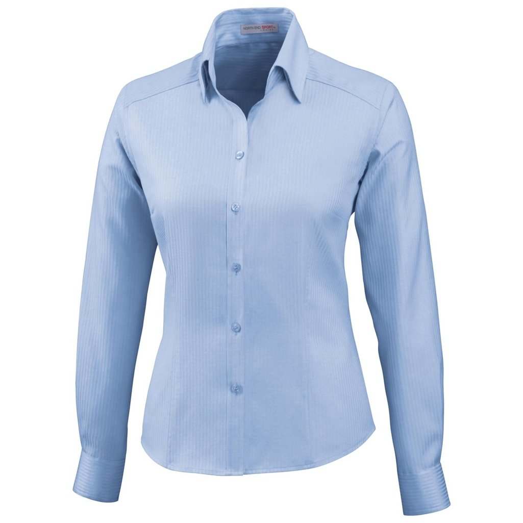 Ash City Ladies Jacquard Shirts (X-Small, Cool Blue) by Ash City Apparel