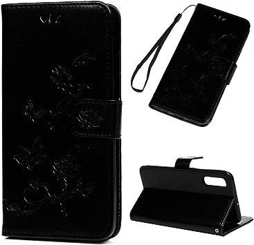 iAdvantec Funda para Samsung Galaxy A50, Estuche de Cuero Estampado Libro de Cuero con Tapa y Cartera, Carcasa PU Leather con TPU Silicona Case Interna Suave, Loto Negro: Amazon.es: Electrónica