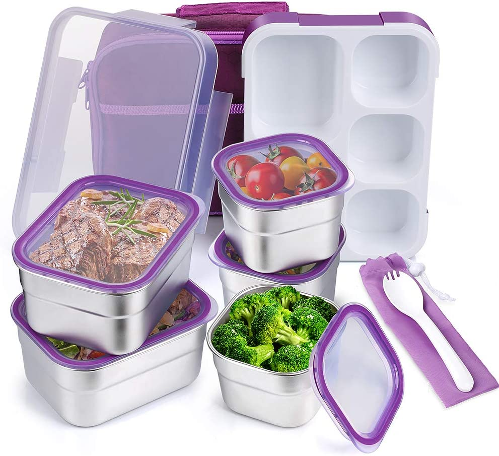 Stainless Steel Kids Bento Lunch Box Leak Proof BPA-Free DaCool School Lunch Container 5-Compartment with Lunch Bag and Fork for Toddler Child Adult, Food Snack Container for Picnic Outdoors, Purple