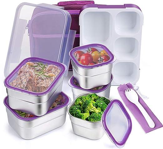 Niños Caja de almuerzo con compartimentos Plástico Comida Recipiente Almacenamiento Snack Picnic