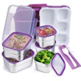 Stainless Steel Kids Bento Lunch Box Leak Proof BPA-Free DaCool School Lunch Container 5-Compartment with Lunch Bag and…