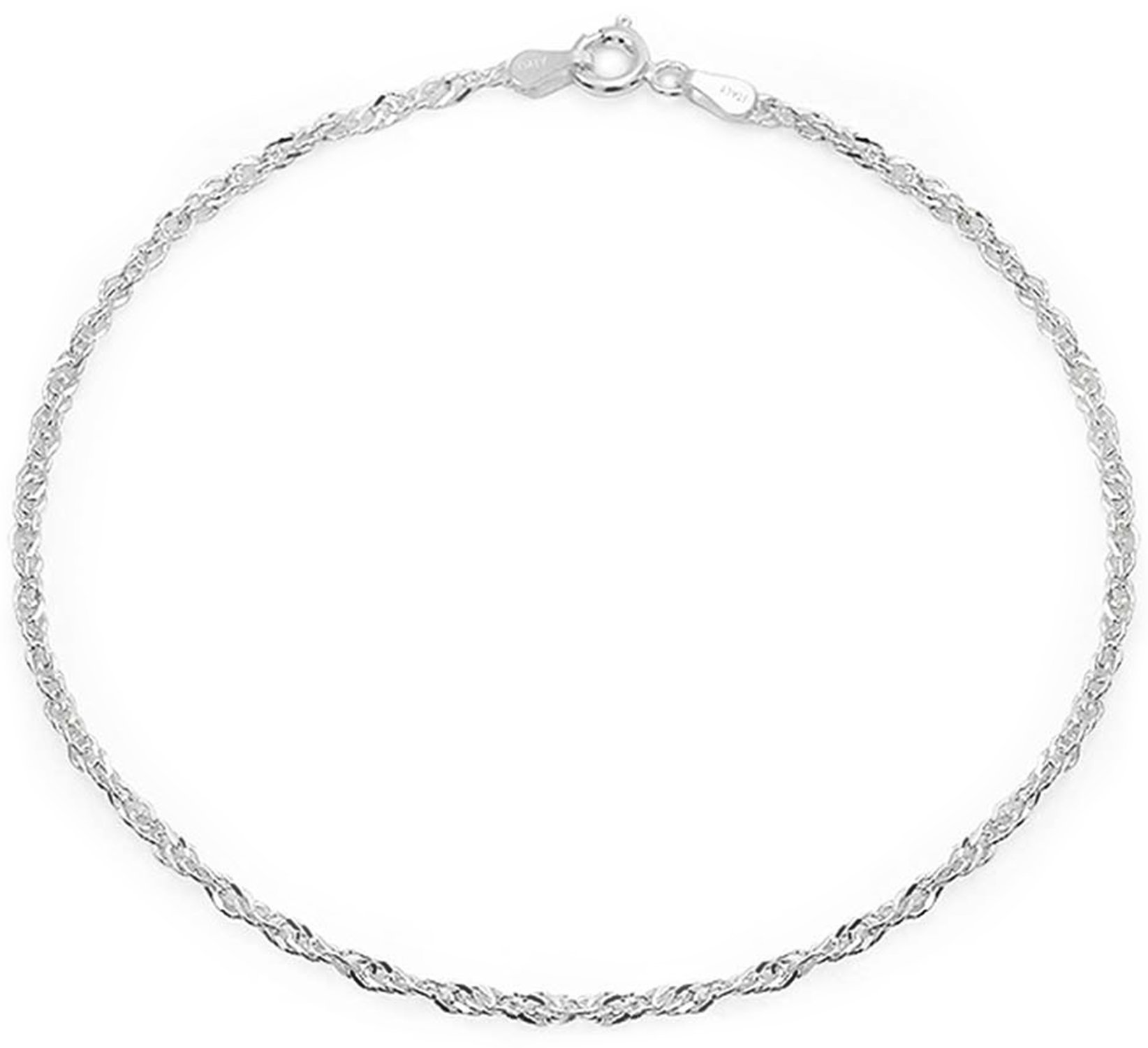 Sterling Silver Anklet Singapore Chain Ankle Bracelet Italy